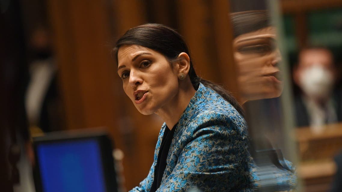 Britain's Secretary of State for the Home Department Priti Patel speaks during a parliament session at the House of Commons in London, Britain March 15, 2021. (File photo: Reuters)