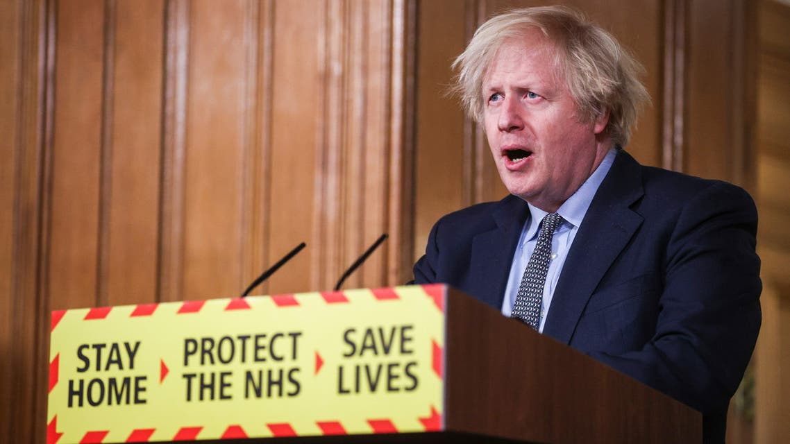 Britain's Prime Minister Boris Johnson holds a news conference at 10 Downing Street, on the day of reflection to mark the anniversary of Britain's first coronavirus disease (COVID-19) lockdown, in London, Britain March 23, 2021. REUTERS/Hannah McKay/Pool