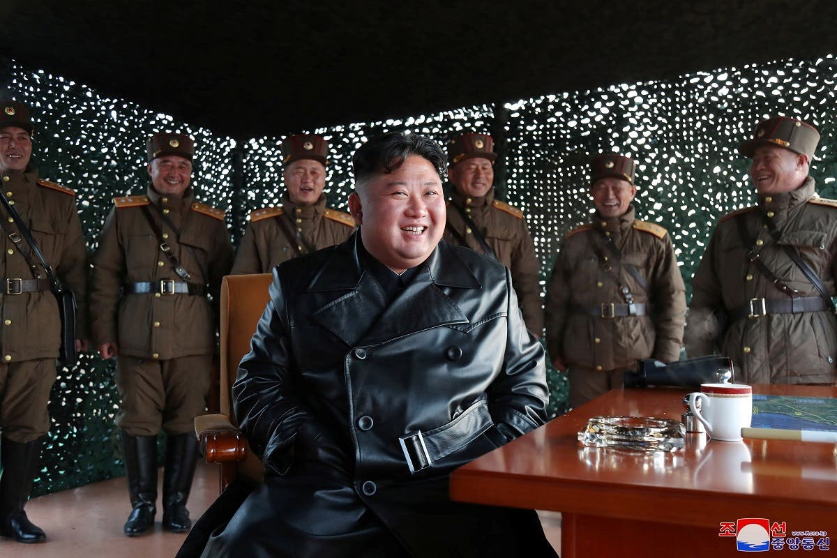 North Korean leader Kim Jong Un observes the firing of suspected missiles in this image released by North Korea's Central News Agency (KCNA) on March 22, 2020. (Reuters)