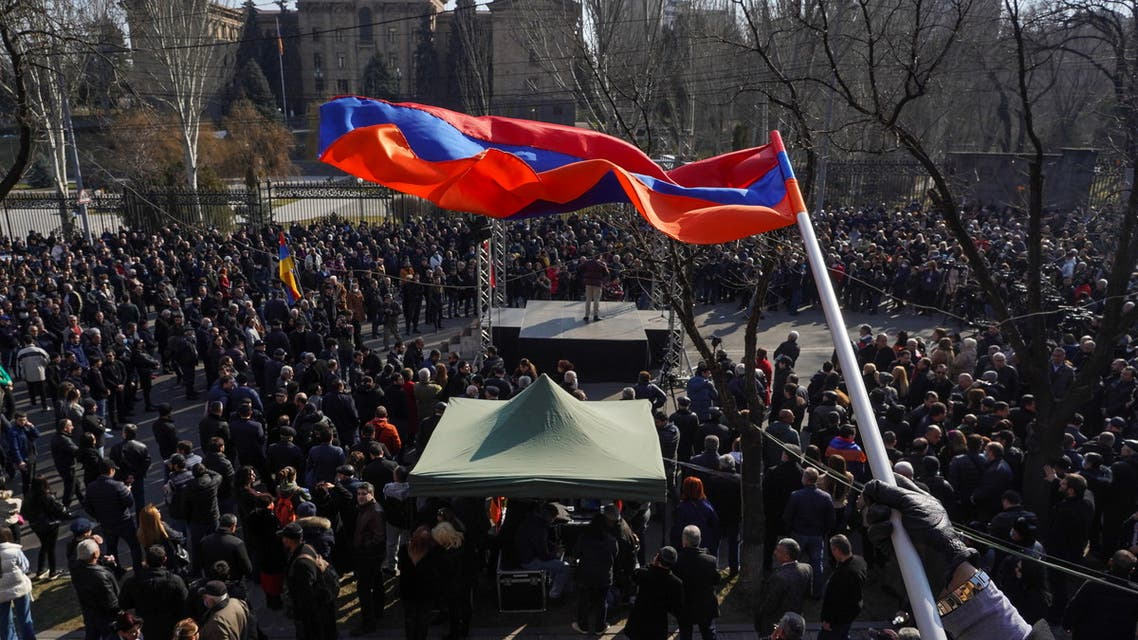 Opposition supporters hold a rally to demand the resignation of Armenian Prime Minister Nikol Pashinyan in Yerevan, Armenia February 27, 2021. (File photo: Reuters)