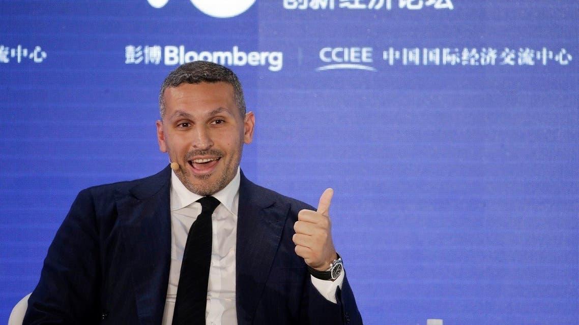 Khaldoon Khalifa Al Mubarak, group chief executive officer of Mubadala Investment Company, speaks at the 2019 New Economy Forum in Beijing, China. (Reuters)
