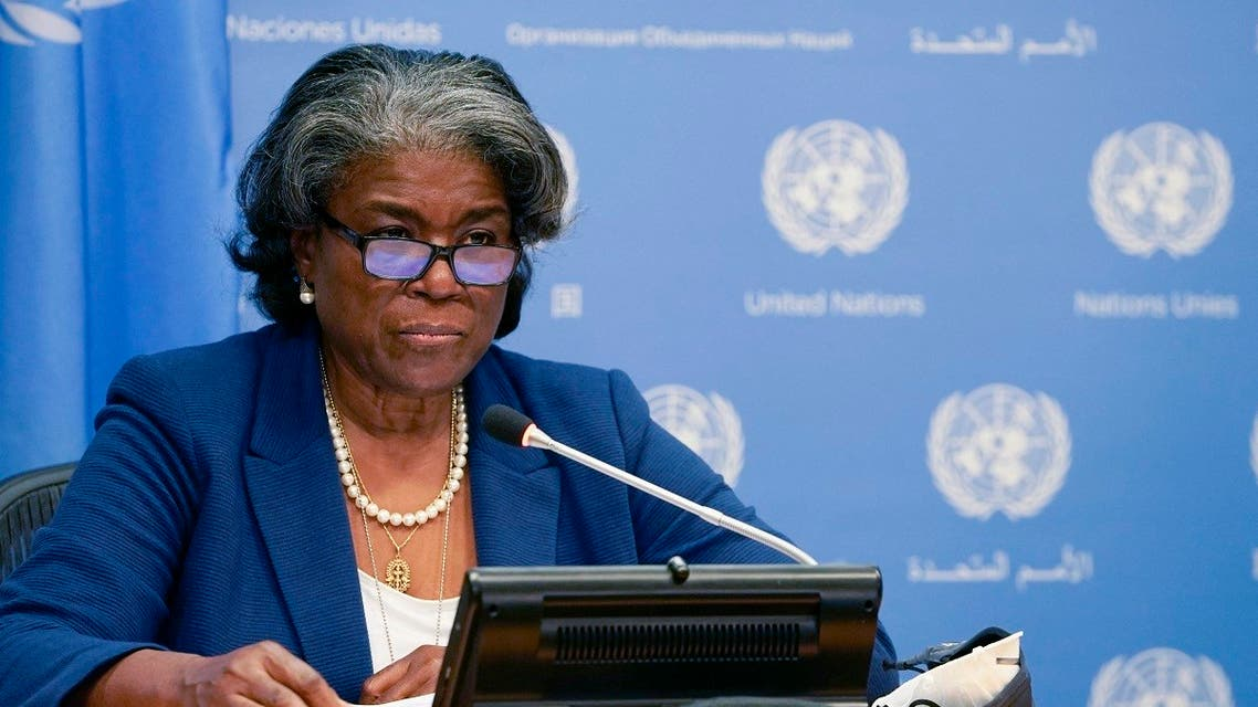US ambassador to the United Nations, Linda Thomas-Greenfield, and President of the Security Council speaks during a press conference for the Security Council program of work in March at the UN Headquarters in New York on March 1, 2021. (Timothy A. Clary/AFP)