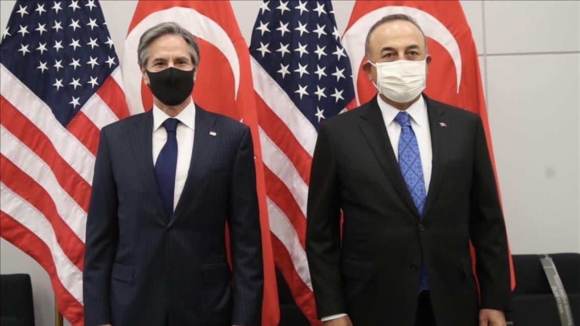 وزير خارجية تركيا تشاووش أوغلو ووزير خارجية أميركا أنتوني بلينكن في بروكسل