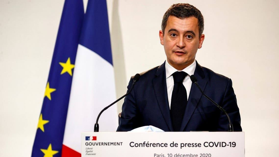 French Interior Minister Gerald Darmanin speaks in Paris, France December 10, 2020. (Thomas Samson/Pool via Reuters)