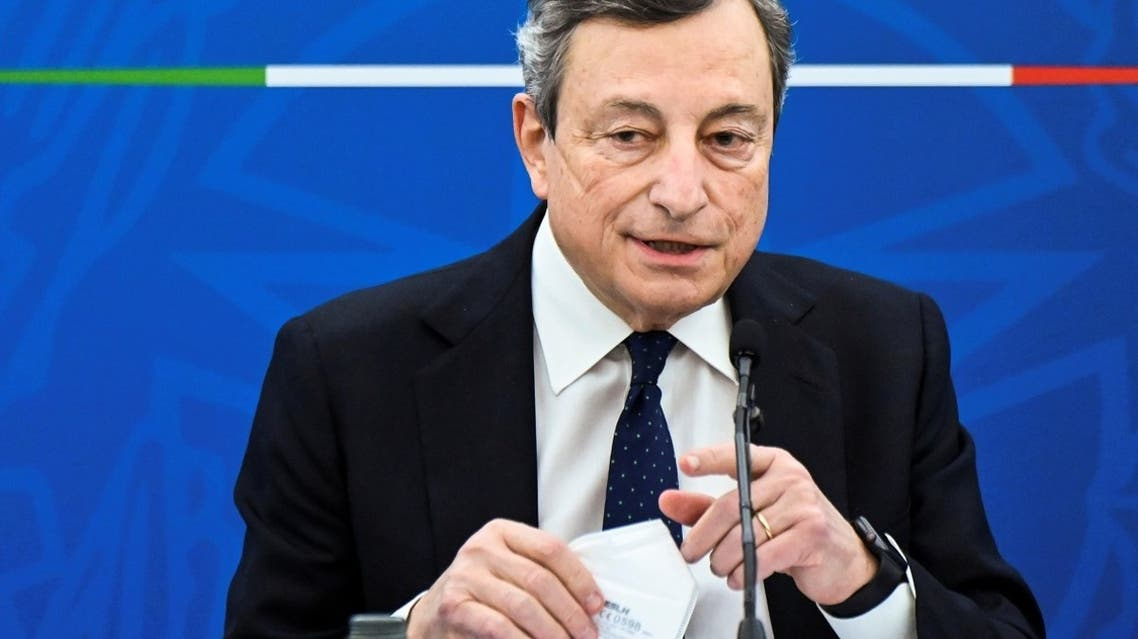 Italy's Prime Minister, Mario Draghi speaks during a joint press conference with Italy's Economy Minister and Italy's Minister for Labor and Social Policy following a Cabinet meeting in Rome, Italy, on March 19, 2021. (Reuters)