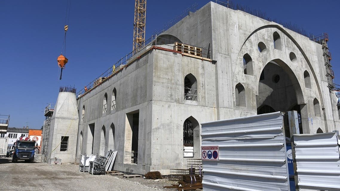 This picture taken on March 24, 2021 shows the construction site of the Eyyub Sultan Mosque in Strasbourg two days after the city council approved the principle of at least 2,5 million euros public funding for the construction led by the Milli Gorus (CIMG)assotiation reputedly close to Turkey.  (Frederick Florin/AFP)