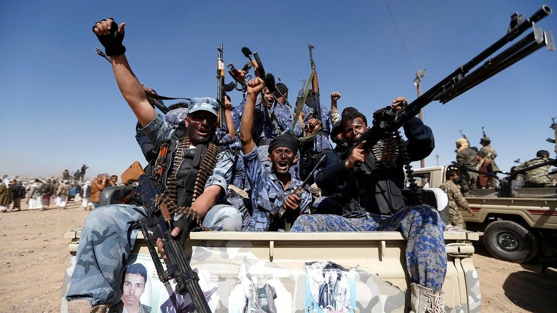 Newly recruited Houthi fighters at a gathering in the capital Sanaa to mobilize more fighters in Yemen. (File Photo: AFP)