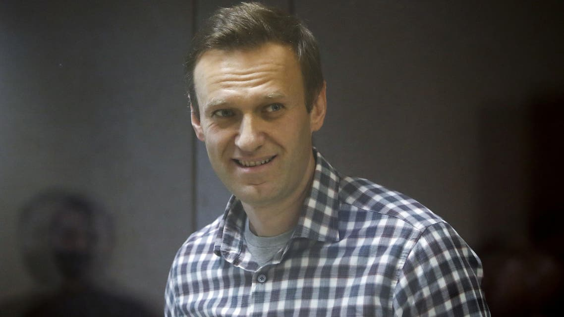 FILE PHOTO: Russian opposition politician Alexei Navalny attends a court hearing in Moscow, Russia February 20, 2021. REUTERS/Maxim Shemetov/File Photo