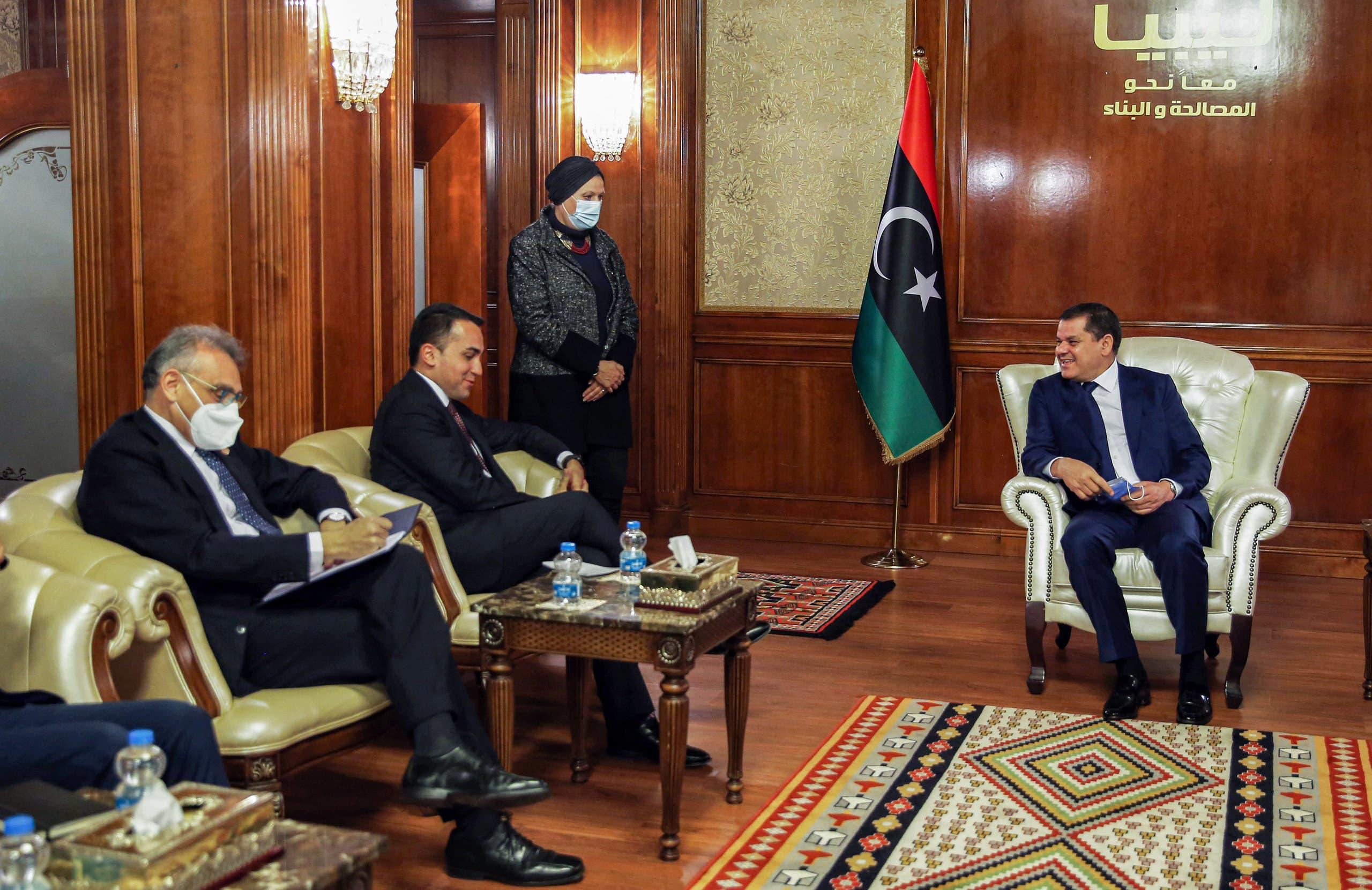 من لقاء دي مايو بالدبيبة في طرابلس في 21 مارس الحالي