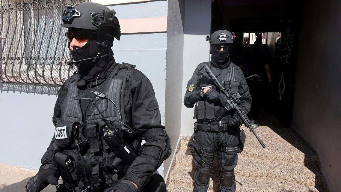 Moroccan special forces stand guard at the entrance of a building during a counter-terrorism operation in Temara, on the outskirts of Rabat, Morocco, on September 10, 2020. (Reuters)