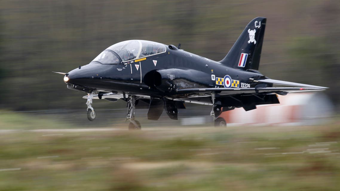 A Royal Air Force Hawk fighter jet similar to the Navy's Hawk T1 that crashed in Cornwall takes part in the close air support (CAS) exercise Serpentex 2016 hosted by France in the Mediterranean island of Corsica, at Solenzara air base, March 17, 2016. (Reuters)