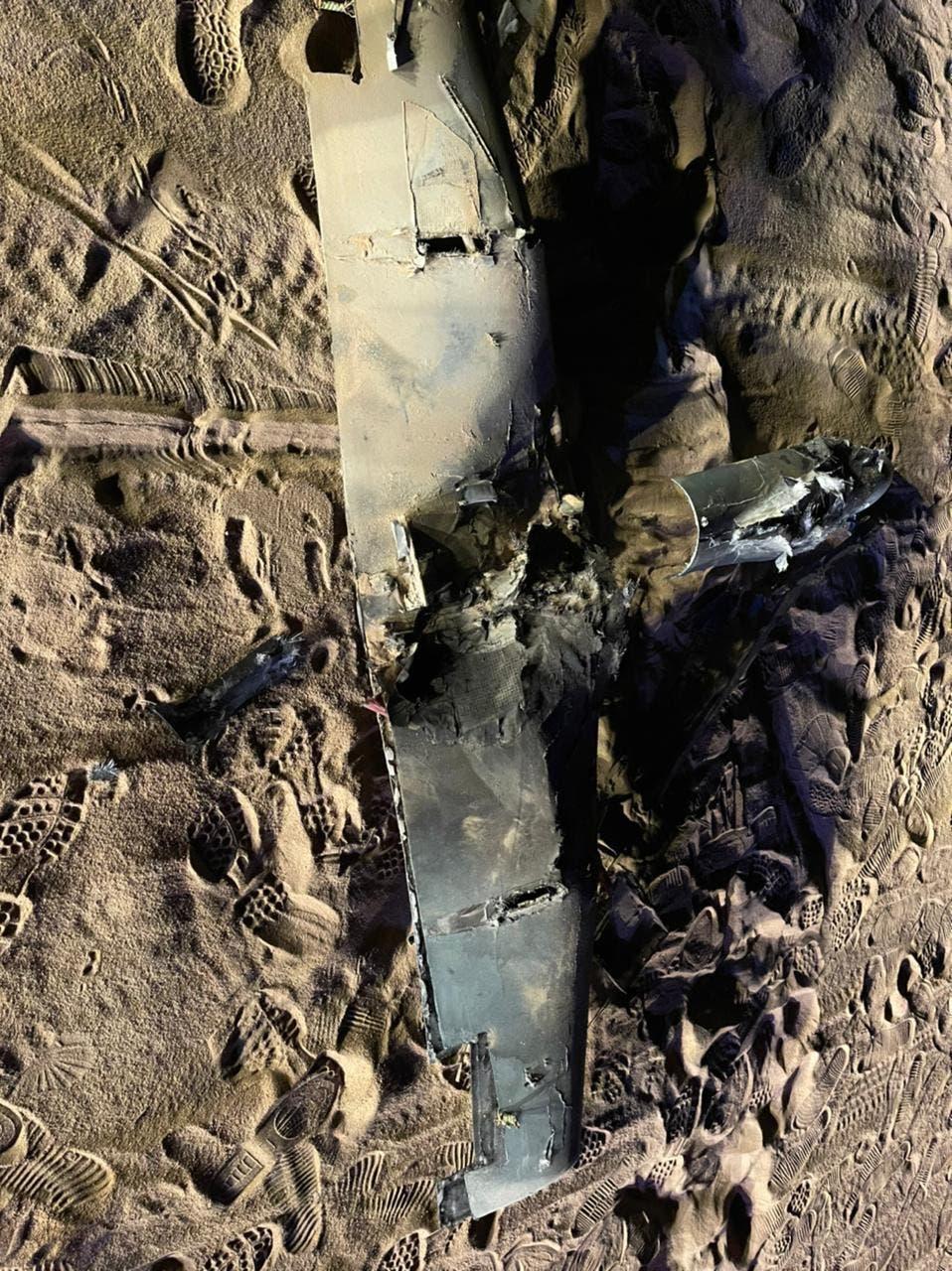حوثی حملے میں استعمال ہونے والے ڈرون کا ملبہ