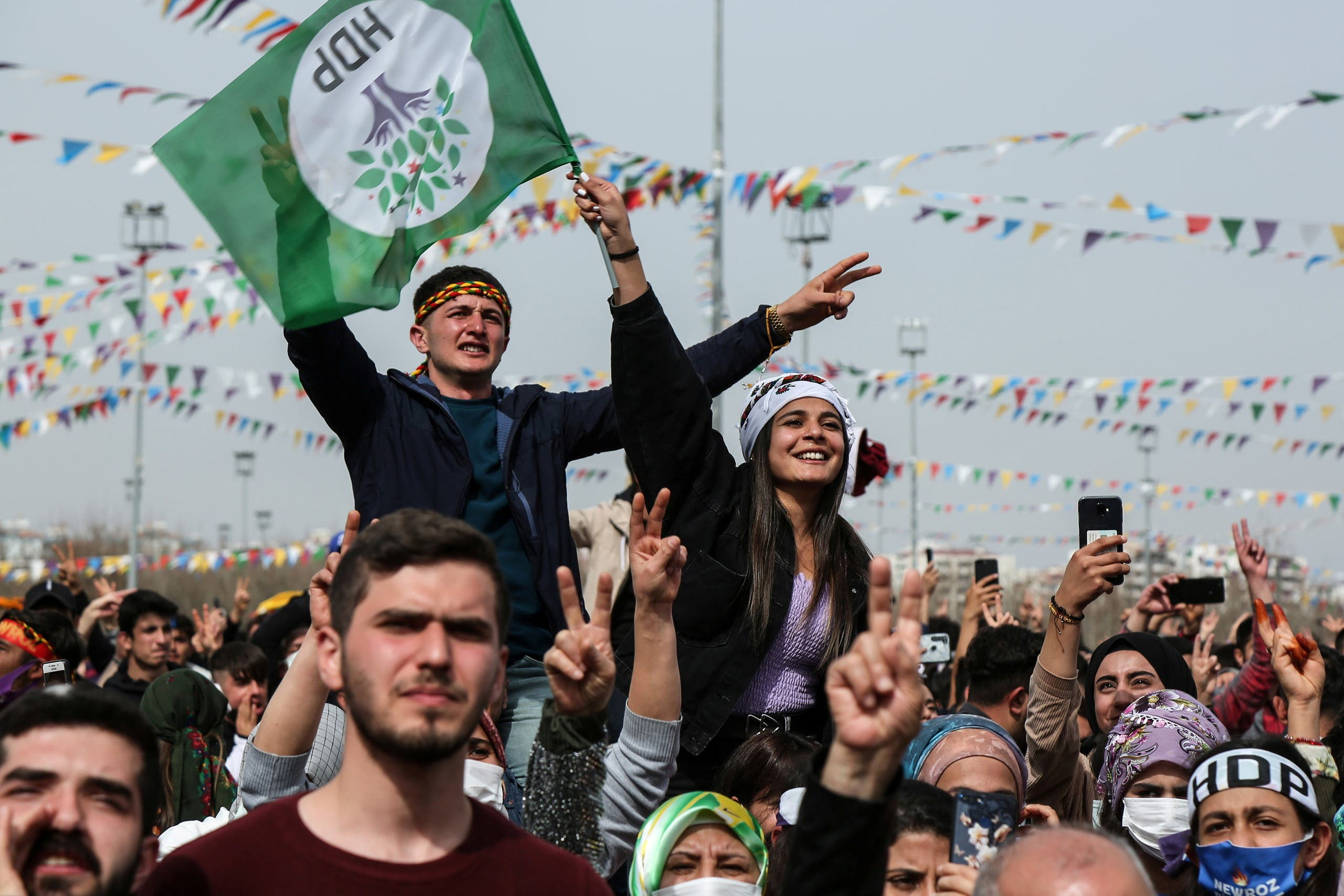 Supporters of pro-Kurdish Peoples' Democratic Party (HDP) gather to celebrate Newroz, which marks the arrival of spring, in Diyarbakir, Turkey March 21, 2021. (Reuters)
