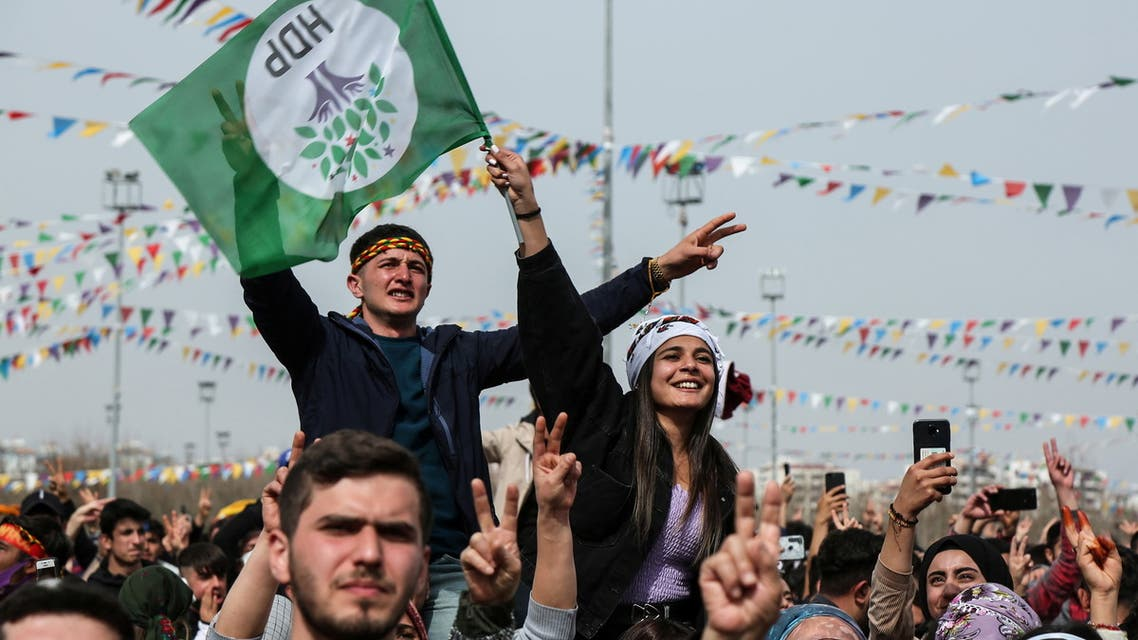 Supporters of pro-Kurdish Peoples' Democratic Party (HDP) gather to celebrate Newroz, which marks the arrival of spring, in Diyarbakir, Turkey March 21, 2021. REUTERS/Sertac Kayar