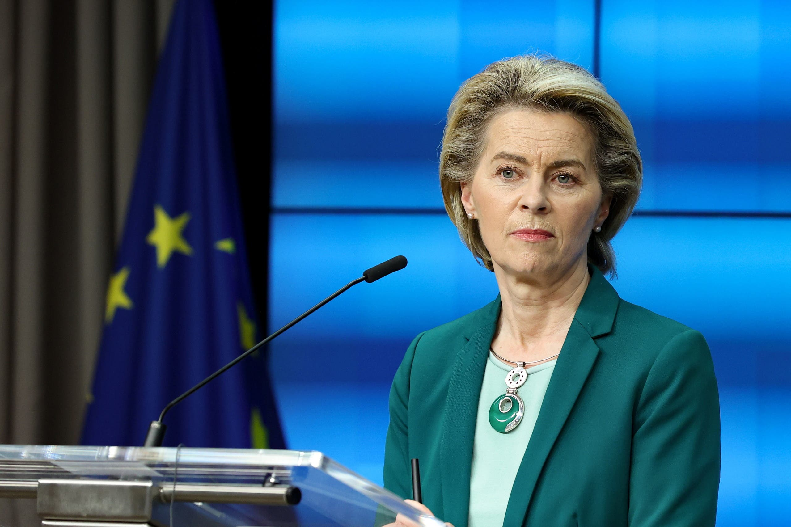 European Commission President Ursula von der Leyen delivers a joint press conference with the European Council President at the end of the first day of a European Union (EU) summit. (Reuters)