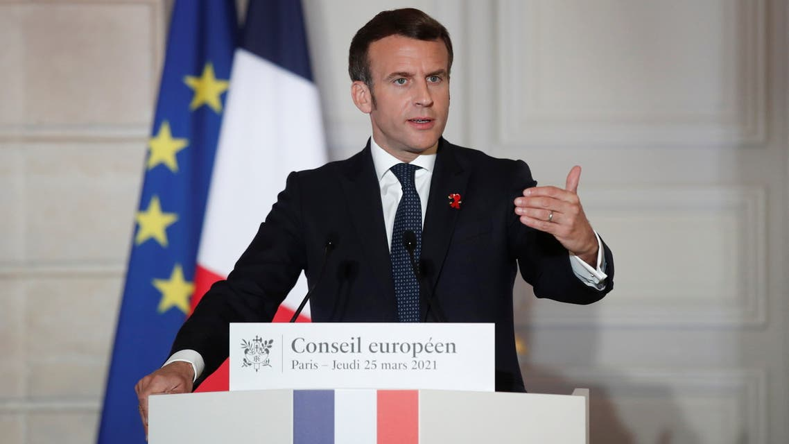 French President Emmanuel Macron delivers a press conference after a European Council summit held over video-conference at the Elysee Palace in Paris. (Reuters)