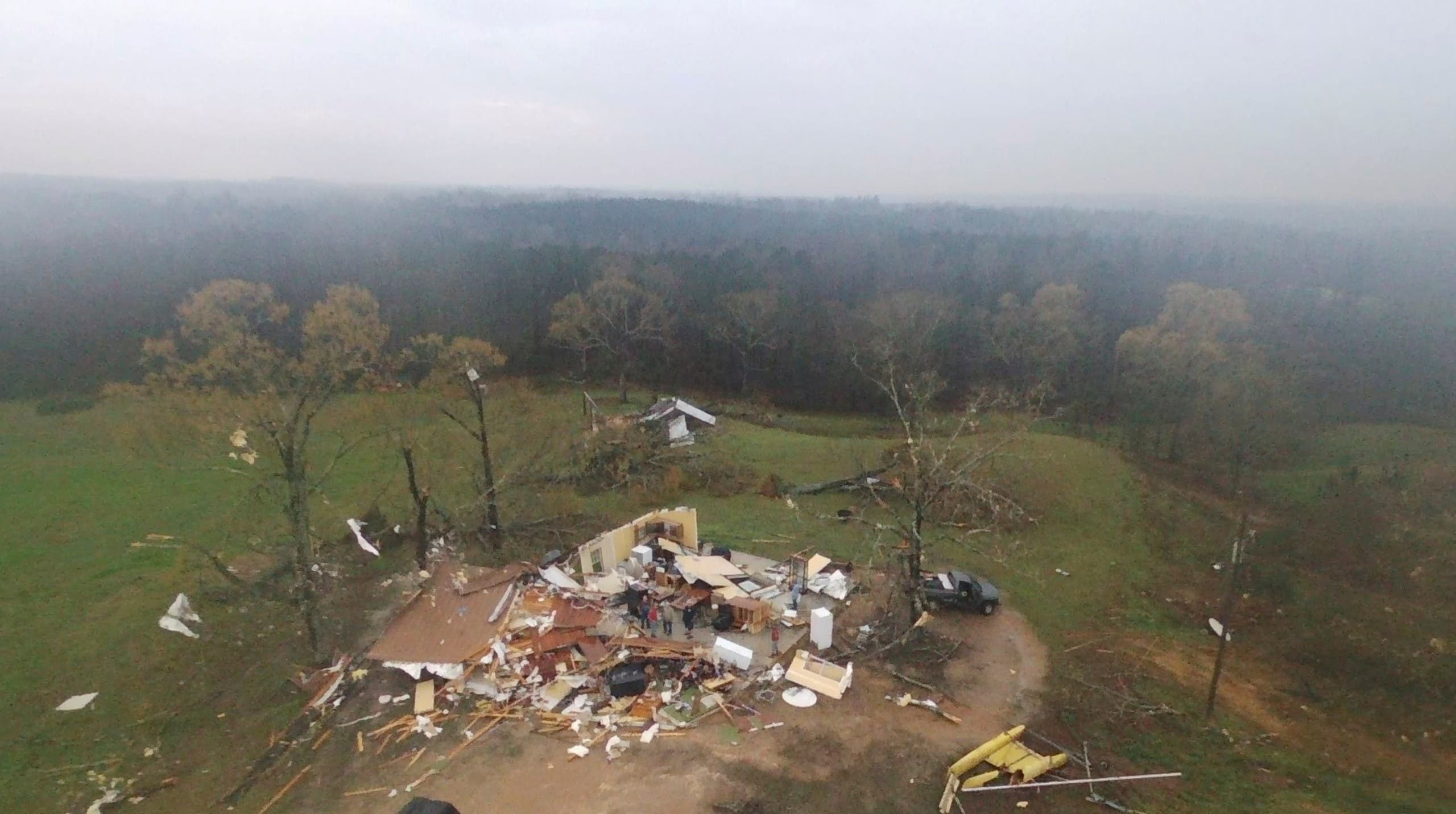 A destroyed house is seen in Chilton County, Alabama, U.S., March 17, 2021 in this still image obtained from a social media video. Video taken March 17, 2017. Video taken with a drone. (Brad Vance/via Reuters)