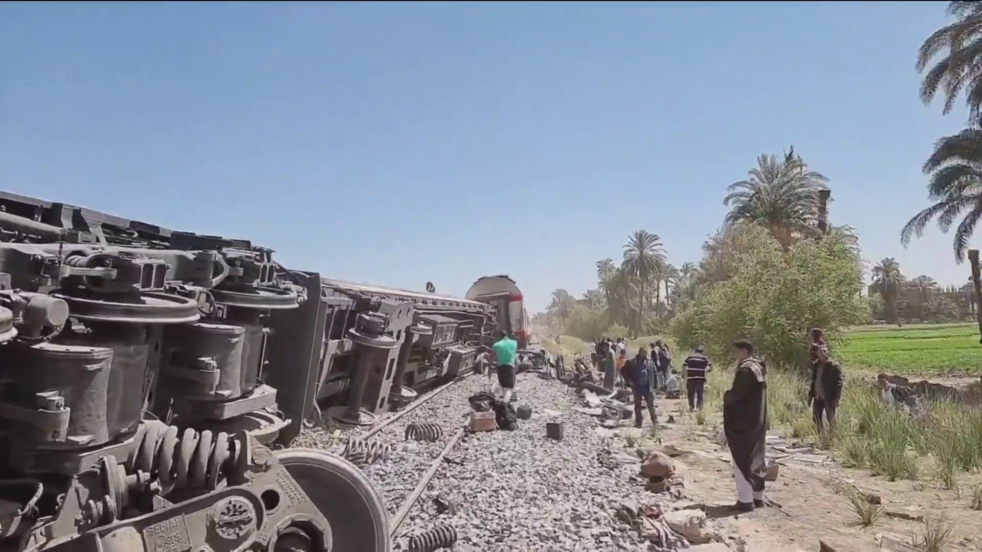 Passenger trains collided in southern Egypt. (Supplied)