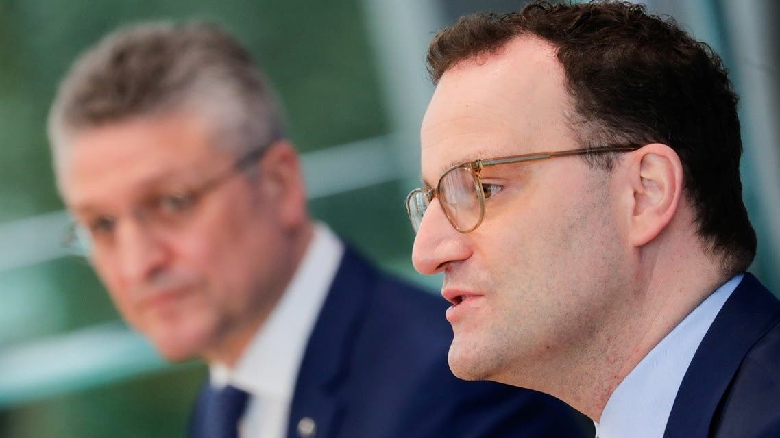 Germany's Health Minister Jens Spahn speaks next to Lothar Wieler, the head of Germany's Robert Koch Institute (RKI) for disease control, during a news conference on the coronavirus  pandemic in Berlin, Germany, on March 26, 2021. (Reuters)
