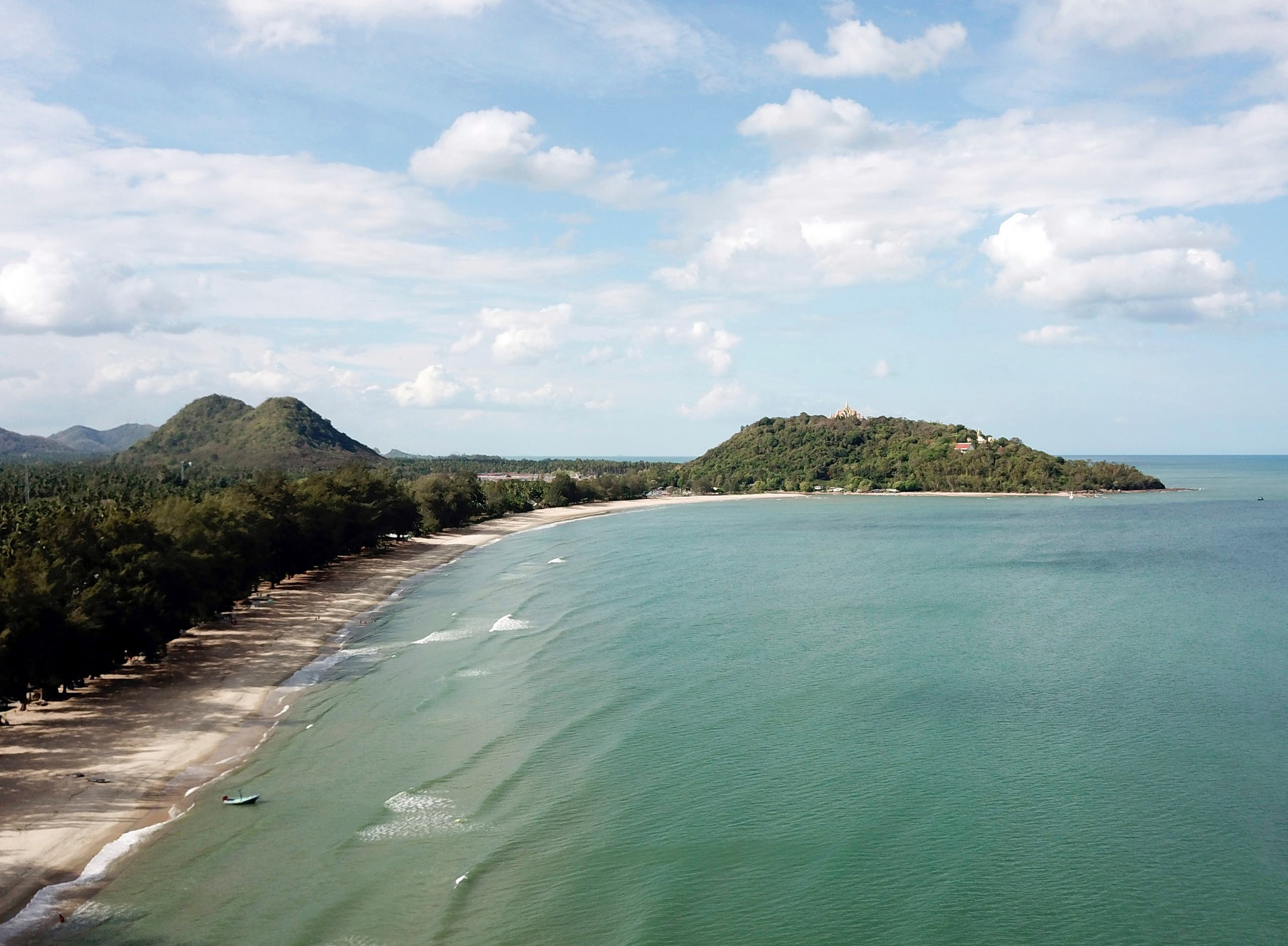 This June 15, 2019 photo shows Ban Krut beach in the Prachuap Khiri Khan province of Thailand. You won't find the party scene of Phuket or Pattaya in laid-back Ban Krut, but you will get one of the cleanest and quietest stretches of white sand within driving distance of the capital. (AP)