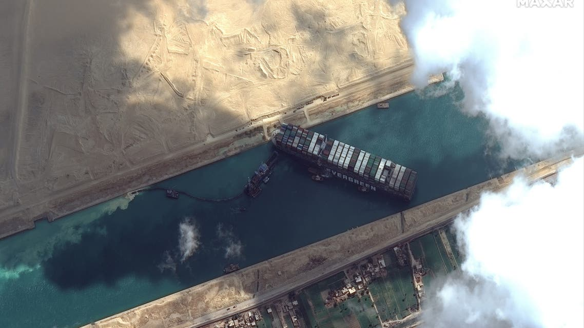 Ever Given container ship is pictured in Suez Canal in this Maxar Technologies satellite image taken on March 26, 2021. (Reuters)