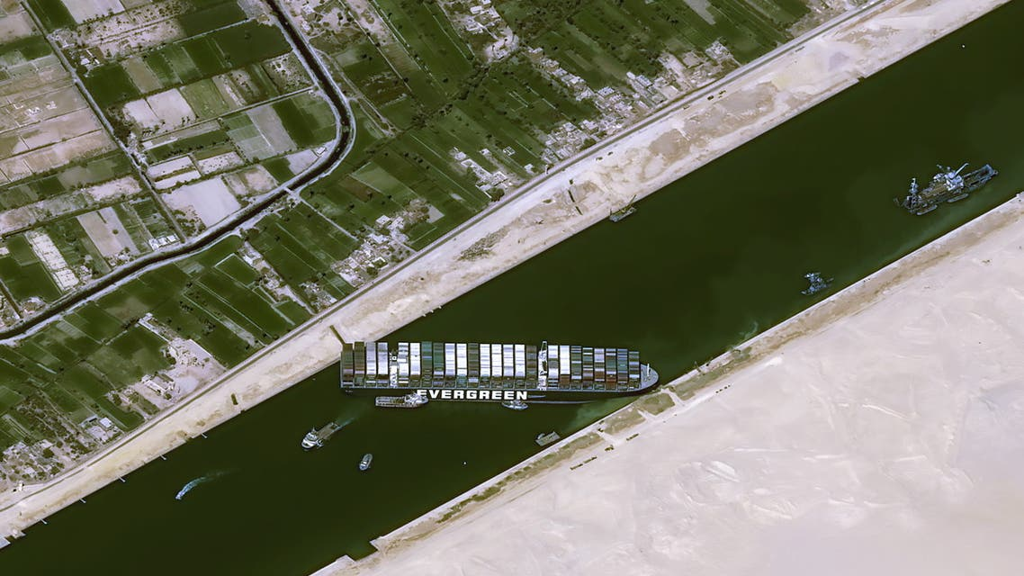 Satellite image shows stranded container ship Ever Given after it ran aground in Suez Canal. (Reuters)