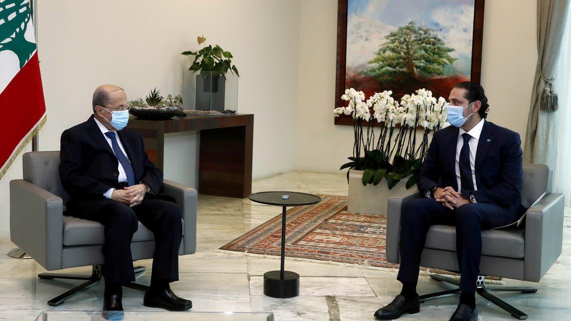 Lebanon's President Michel Aoun meets with Prime Minister-designate Saad al-Hariri at the presidential palace in Baabda, Lebanon March 18, 2021. (File photo: Reuters)