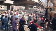 """بالفيديو.. سقوط """"عمود"""" جسر في مصر على السيارات المارة ولا إصابات"""