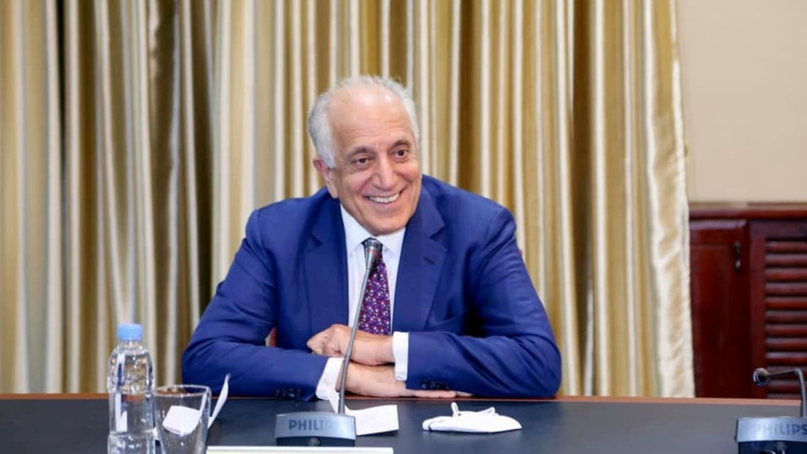 Special Envoy Zalmay Khalilzad at a meeting with Chairman of the High Council for National Reconciliation Abdullah Abdullah in Kabul, March 15, 2021. (Reuters)