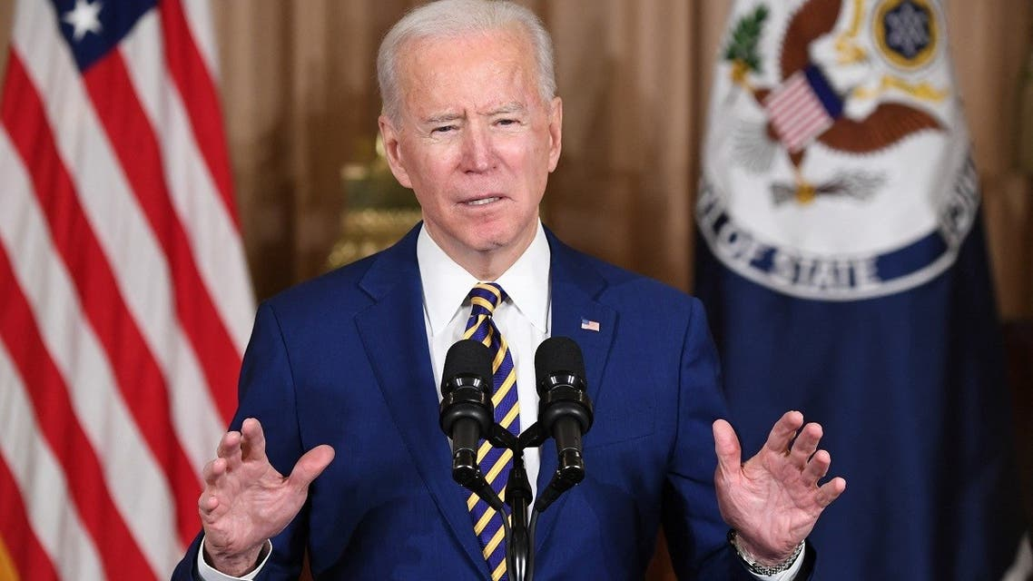 US President Joe Biden speaks about foreign policy at the State Department, on February 4, 2021. (AFP)