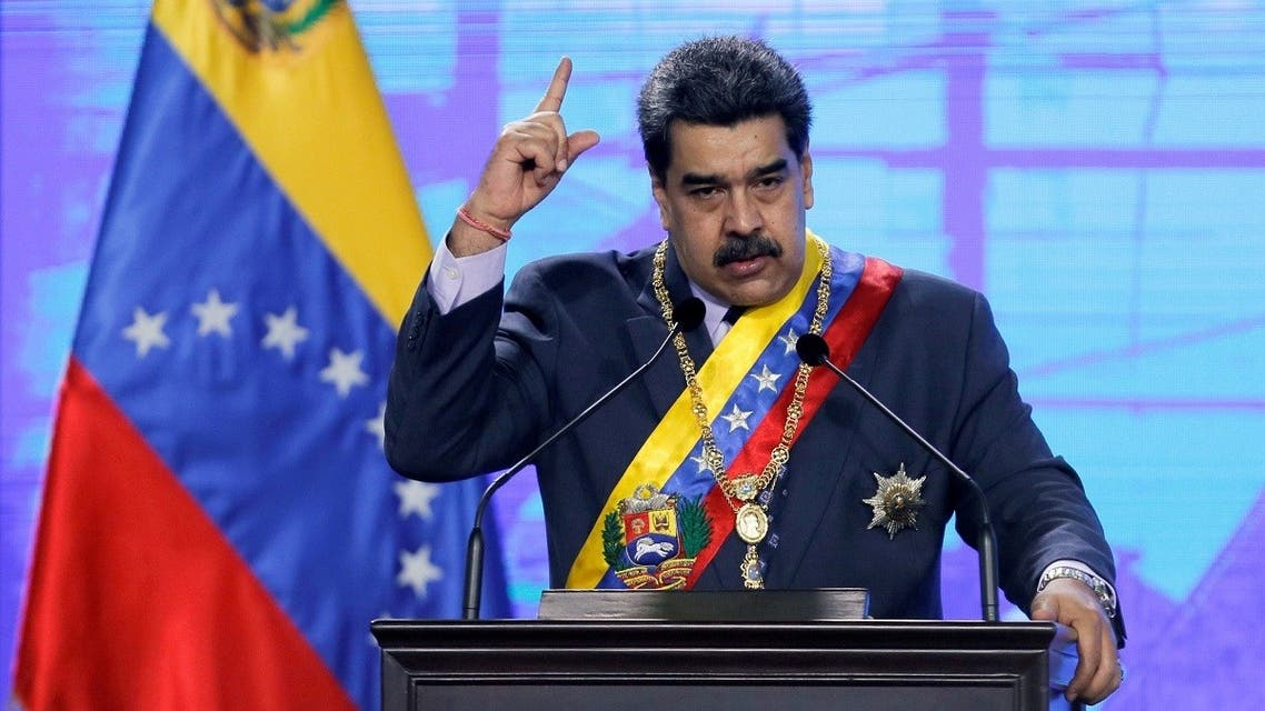 Venezuela's President Nicolas Maduro speaks during a ceremony marking the opening of the new court term in Caracas, Venezuela January 22, 2021. (Reuters)