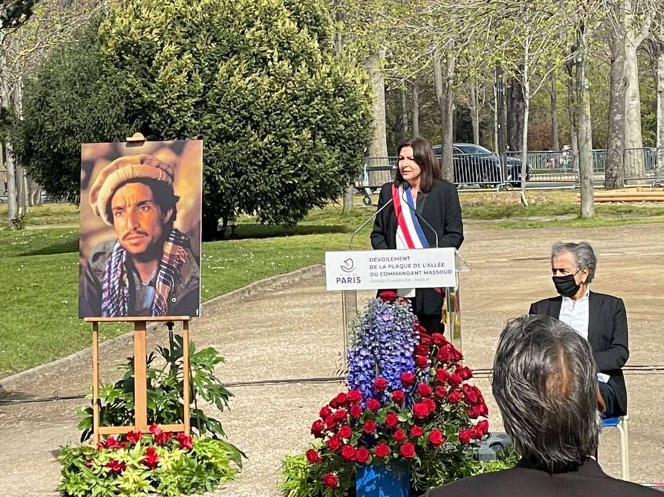 لوح یادبود «احمدشاه مسعود» در فرانسه