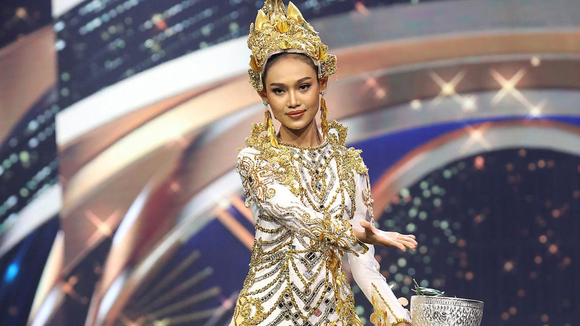 This handout photo taken on March 24, 2021 and released by the Miss Grand International beauty pageant on March 25 shows Miss Grand International contestant Han Lay taking part in the national costume part of the contest in Bangkok. (AFP)