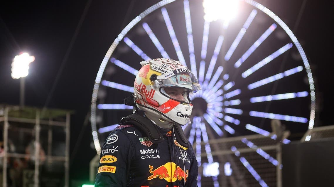 Red Bull's Max Verstappen celebrates after qualifying in pole position. (Reuters)