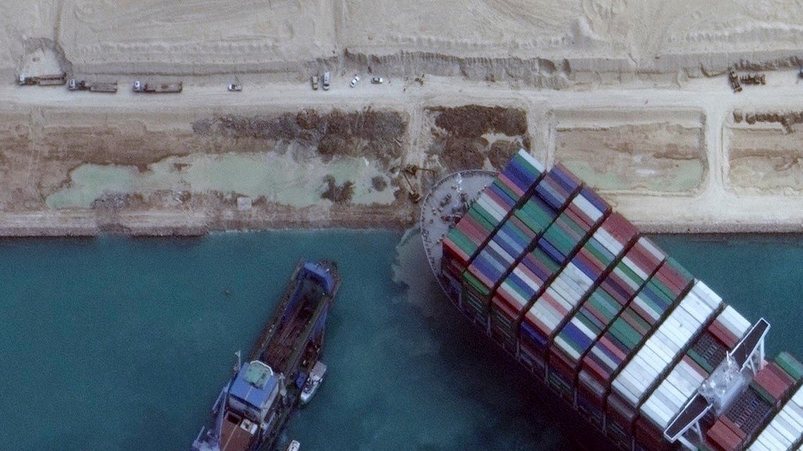 This satellite imagery released by Maxar Technologies shows the MV Ever Given container ship in the Suez Canal on the morning of March 28, 2021. (Satellite image ©2021 Maxar Technologies/AFP)