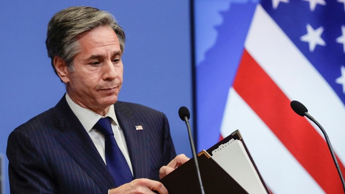U.S. Secretary of State Antony Blinken gives a press briefing at the end of a NATO Foreign Ministers' meeting at the Alliance's headquarters in Brussels, Belgium. (Reuters)