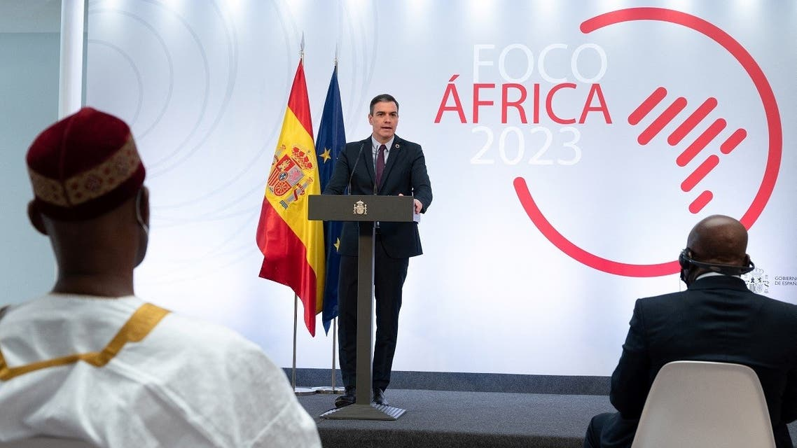 "Spanish PM Sanchez delivering a speech during a presentation of the ""Africa Focus 2023"" plan in Madrid on March 29, 2021. (Borja Puig de la Bellacasa/AFP/La Moncloa)"