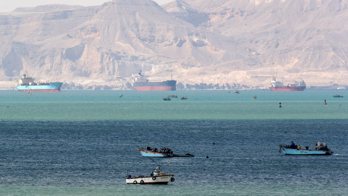 Ships are seen at the entrance of Suez Canal, which was blocked by stranded container ship Ever Given that ran aground. (Reuters)