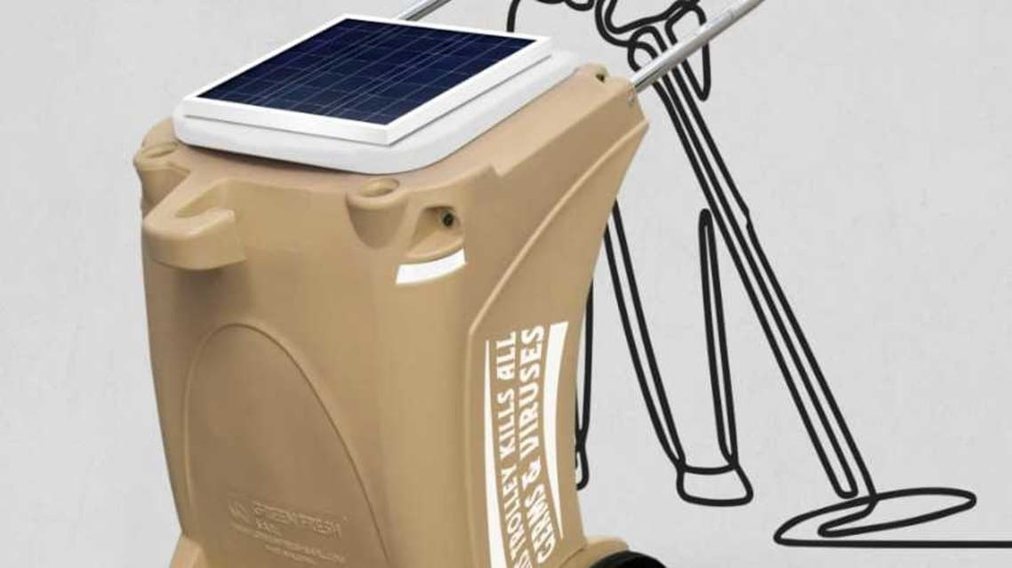 The smart solar-powered garbage trolley developed by Green Fresh Factory. (Supplied by Green Fresh Factory)