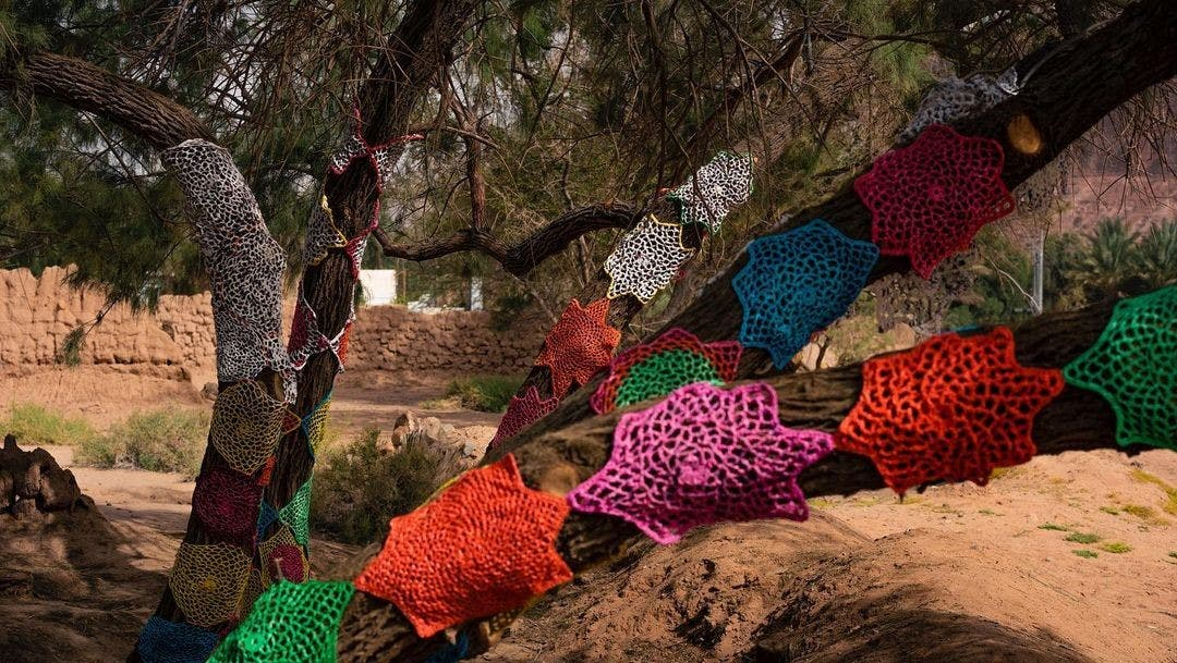 A group of 55 artisans in Saudi repurposed thousands of plastic bags to make the colorful art installation at Saudi's AlUla. (Photo: Supplied)