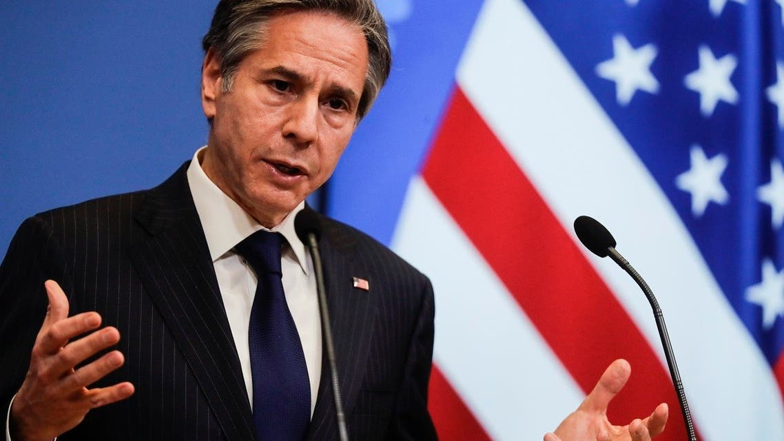 Secretary of State Antony Blinken speaks at a NATO Foreign Affairs Ministers meeting in Brussels, March 24, 2021. (AP)