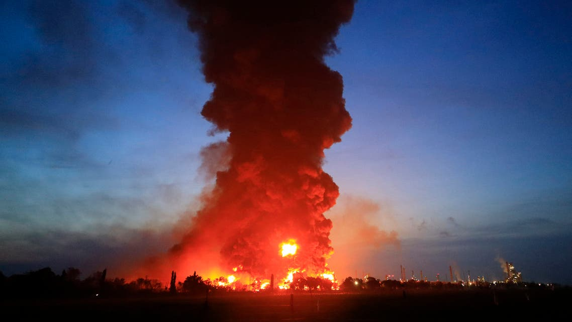 A massive fire rages at the Balongan refinery, operated by state oil company Pertamina, in Indramayu, West Java, on March 29, 2021. (AFP)