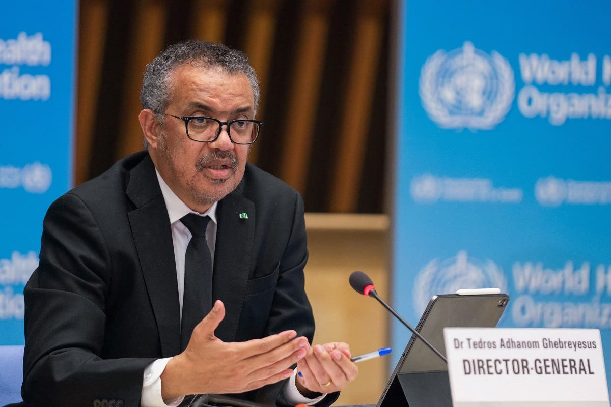 WHO Director-General Tedros Adhanom Ghebreyesus delivering remarks during a press conference on February 12, 2021 in Geneva. (File photo: AFP)