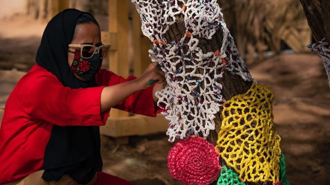 A project led by Kees Chic has seen an area in AlUla transformed into a huge art installation using 12,000 repurposed plastic bags to raise awareness about the environment and carbon emission. (Photo: Supplied)