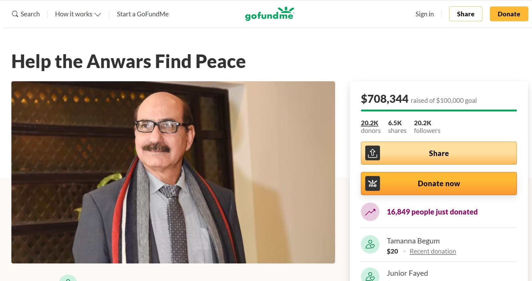 GoFundMe page set up for Mohammad Anwar. (Screengrab)