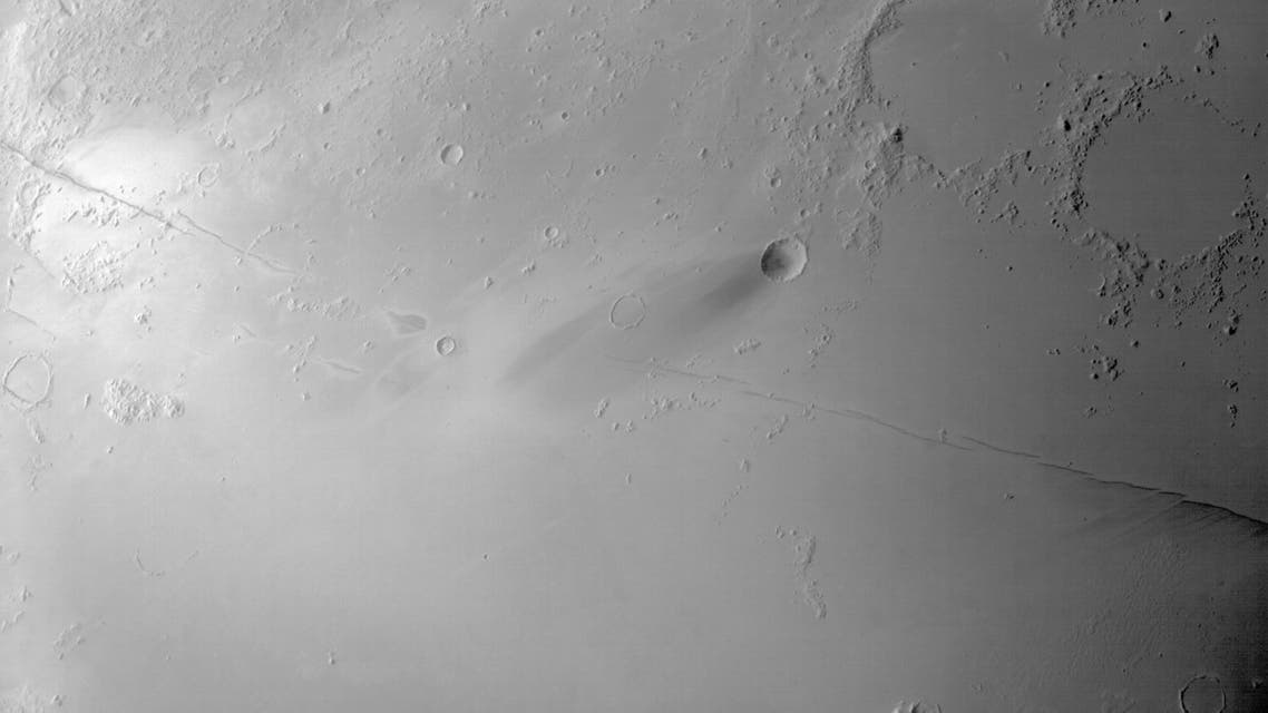 An image of the Cerberus Fossae formation captured by the Hope Probe's Emirates eXploration Imager camera (EXI). (Supplied)