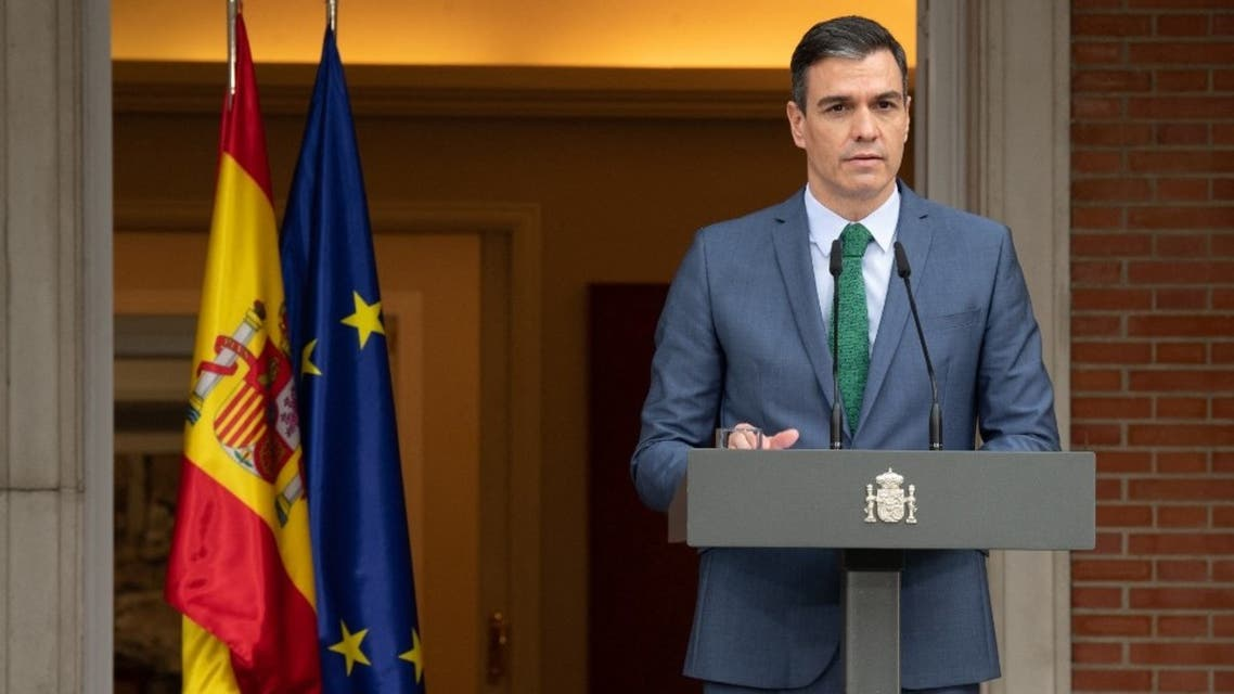 In this handout picture made available by La Moncloa, Spanish Prime Minister Pedro Sanchez holds a press conference at La Moncloa palace in Madrid to announce his cabinet reshuffle on March 30, 2021. (AFP)