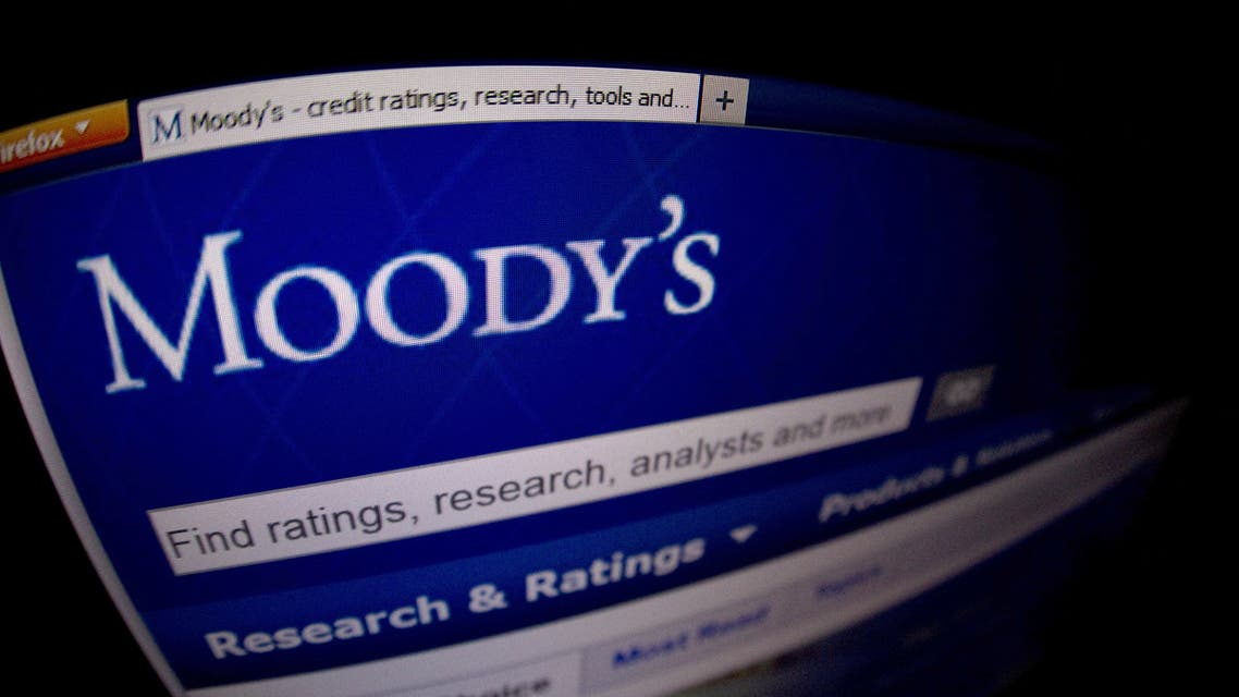 This file photograph taken on January 17, 2012, shows a close-up of the opening page of the ratings agency Moody's website. (AFP)