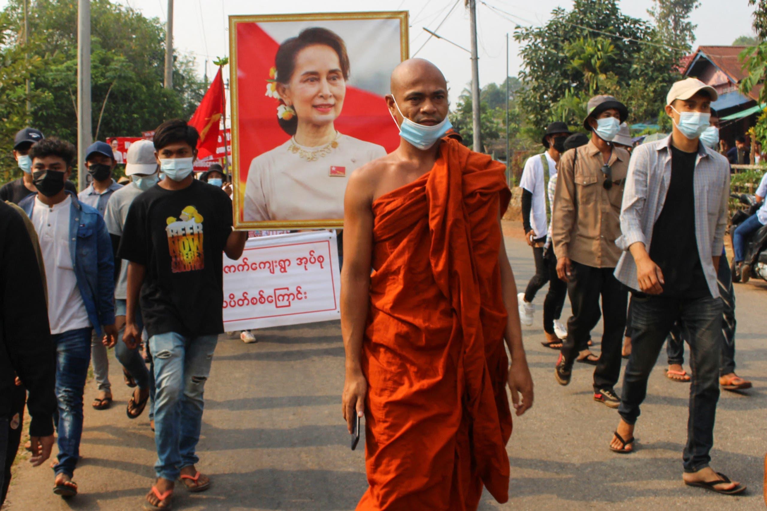 مظاهرة السبت في داوي بميانمار احتجاجاً على الانقلاب رفعت فيها صورة سو تشي
