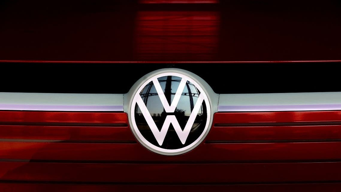 The VW logo is on display at the headquarters of German carmaker Volkswagen (VW) in Wolfsburg, northern Germany, on March 26, 2021. (AFP)